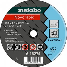 Отрезной круг Metabo Novorapid Inoх, A 46-T, 230 мм (616274000)